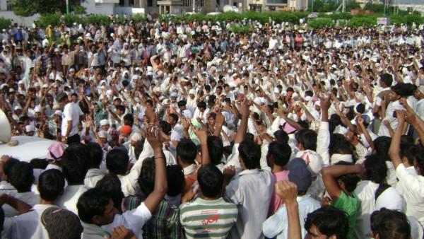 인도 노동조합의 집회 장면