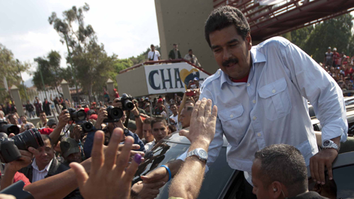 선거 유세 중인 마두로 후보의 모습