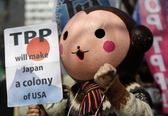 일본의 TPP 반대 집회에서의 퍼포먼스 사진