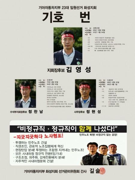 기아차노조 화성지회 김영성 후보조
