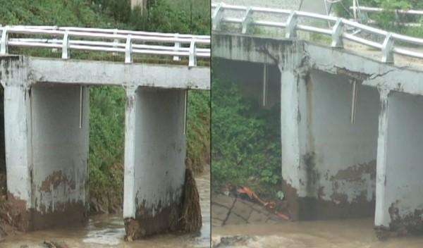 ▲ 2011년 7월 28일(좌)과 8월 17일(우)의 용머리교. 4대강 공사중 단기간에 붕괴가 급격히진행되고 있음을 알 수 있다.