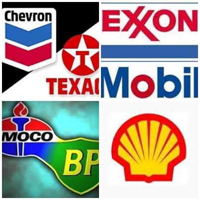 셰브론, 엑손 등 대표적 석유자본의 마크들