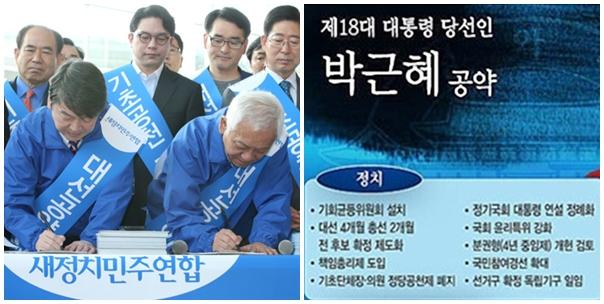 기초 무공천 서명운동(왼쪽)과 박근혜 대통령의 대선 공약