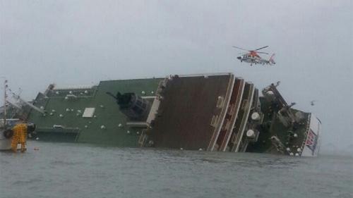 침몰된 여객선 모습(방송화면)