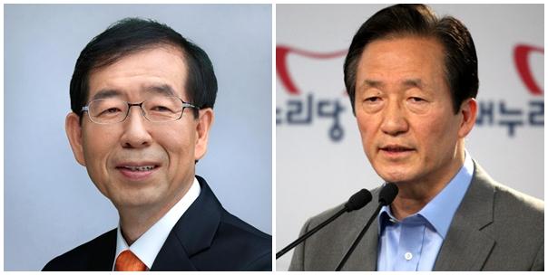 박원순 후보(왼쪽)와 정몽준 후보