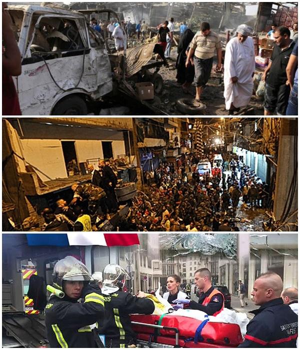 하루이틀 간격으로 벌어진 테러들. 위에서부터 이라크 바그다드(13일), 레바논 베이루트(12일), 프랑스 파리(13일)의 참혹한 광경들