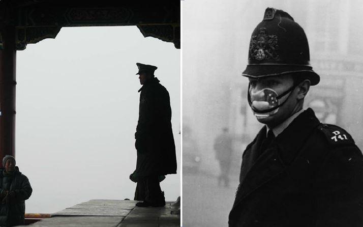 2009년 베이징(왼쪽), 1952년 런던(오른쪽) 사진 출처: Frederic J. Brown AFP 통신. 게티이미지